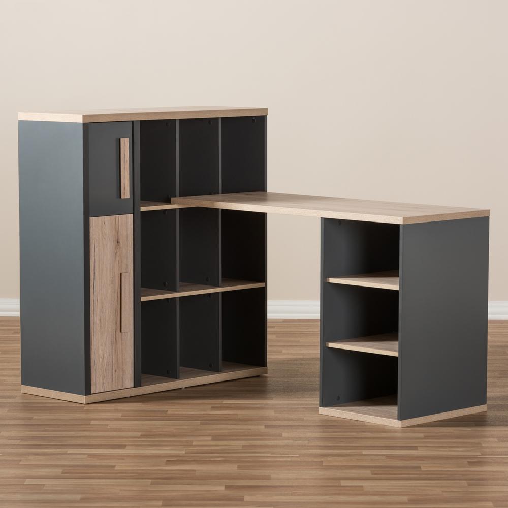 Baxton Studio Pandora Modern And Contemporary Dark Grey Light Brown Two Tone Study Desk