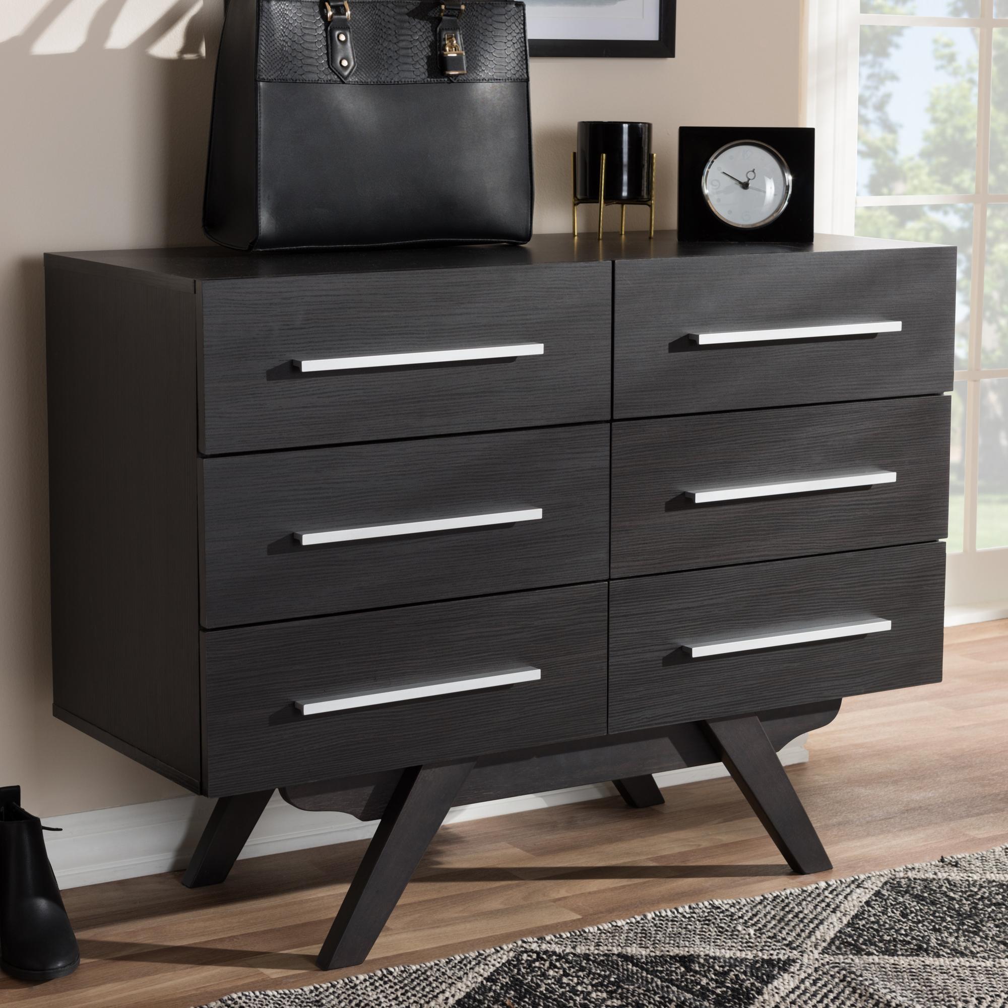 ... Baxton Studio Auburn Mid Century Modern Espresso Brown Finished Wood 6 Drawer  Dresser ...