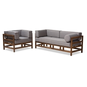 Baxton Studio Shaw Mid-Century Modern Grey Fabric Upholstered Walnut Wood 2-Piece Living Room Sofa Set Baxton Studio restaurant furniture, hotel furniture, commercial furniture, wholesale living room furniture, wholesale sofa set, classic sofa sets