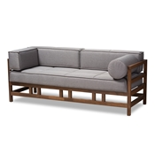 Baxton Studio Shaw Mid-Century Modern Grey Fabric Upholstered Walnut Wood 3-Seater Sofa Baxton Studio restaurant furniture, hotel furniture, commercial furniture, wholesale living room furniture, wholesale sofa, classic sofas