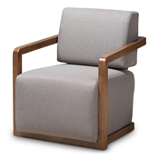 Baxton Studio Sawyer Mid-Century Modern Grey Fabric Upholstered Walnut Wood Armchair Baxton Studio restaurant furniture, hotel furniture, commercial furniture, wholesale living room furniture, wholesale chair, classic accent chairs