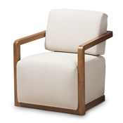 Baxton Studio Sawyer Mid-Century Modern Light Beige Fabric Upholstered Walnut Wood Armchair Baxton Studio restaurant furniture, hotel furniture, commercial furniture, wholesale living room furniture, wholesale chair, classic accent chairs