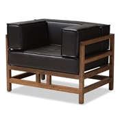 Baxton Studio Shaw Mid-Century Modern Pine Black Faux Leather Walnut Wood Armchair Baxton Studio restaurant furniture, hotel furniture, commercial furniture, wholesale living room furniture, wholesale chair, classic accent chairs