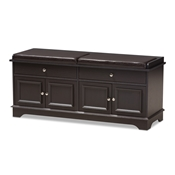 Baxton Studio Mason Modern and Contemporary Dark Brown Wood 2-Drawer Shoe Storage Bench Baxton Studio restaurant furniture, hotel furniture, commercial furniture, wholesale living room furniture, wholesale cabinet, classic shoe cabinets