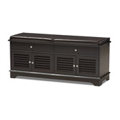 Baxton Studio Leo Modern and Contemporary Dark Brown Wood 2-Drawer Shoe Storage Bench Baxton Studio restaurant furniture, hotel furniture, commercial furniture, wholesale living room furniture, wholesale cabinet, classic shoe cabinets
