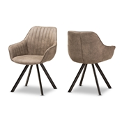 Baxton Studio Blanford Mid-Century Modern Light Brown Fabric Upholstered Dining Chair Set of 2 Baxton Studio restaurant furniture, hotel furniture, commercial furniture, wholesale dining room furniture, wholesale chair, classic fabric chairs