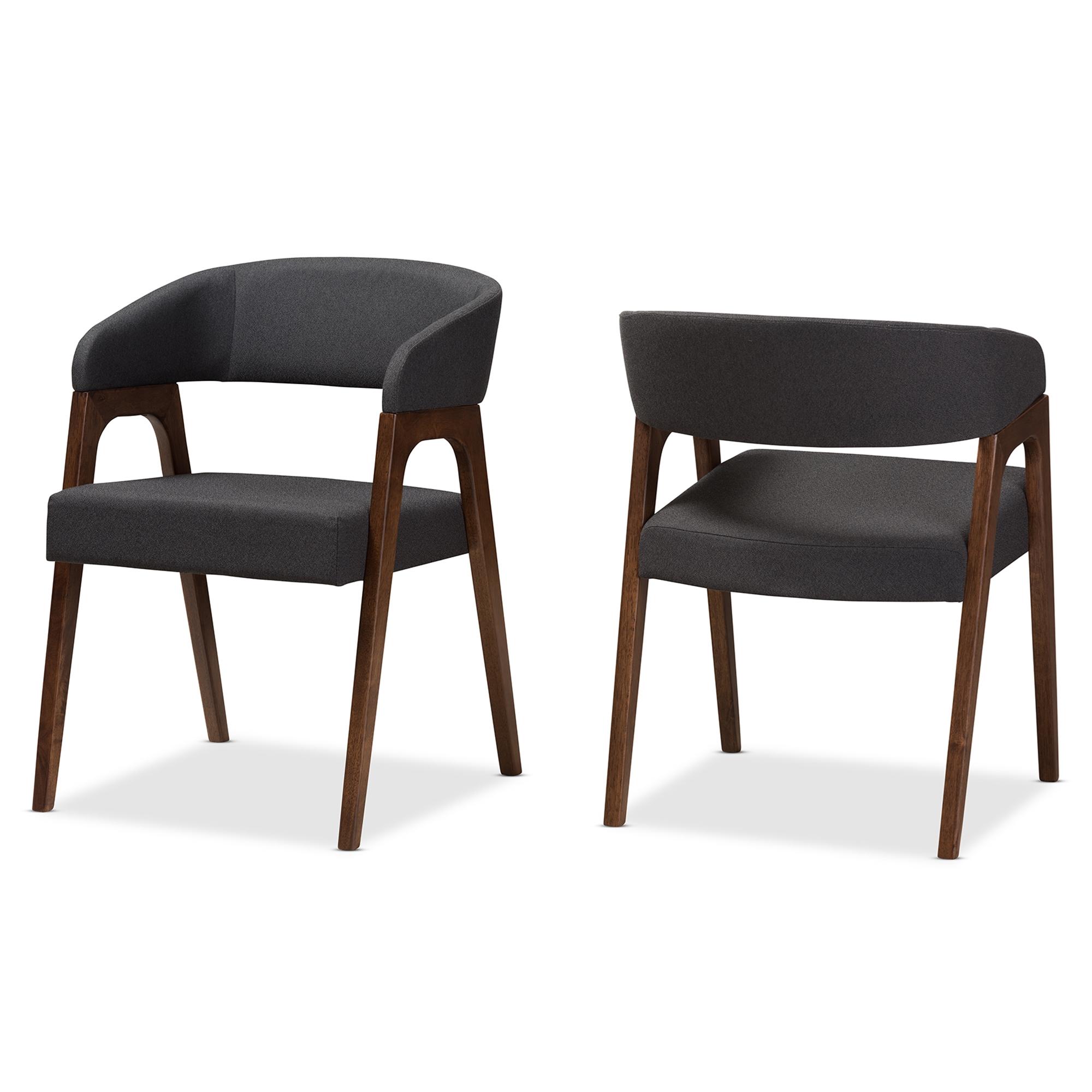 Great Baxton Studio Tory Mid Century Modern Walnut Wood Dark Grey Fabric Dining  Chair Set Of