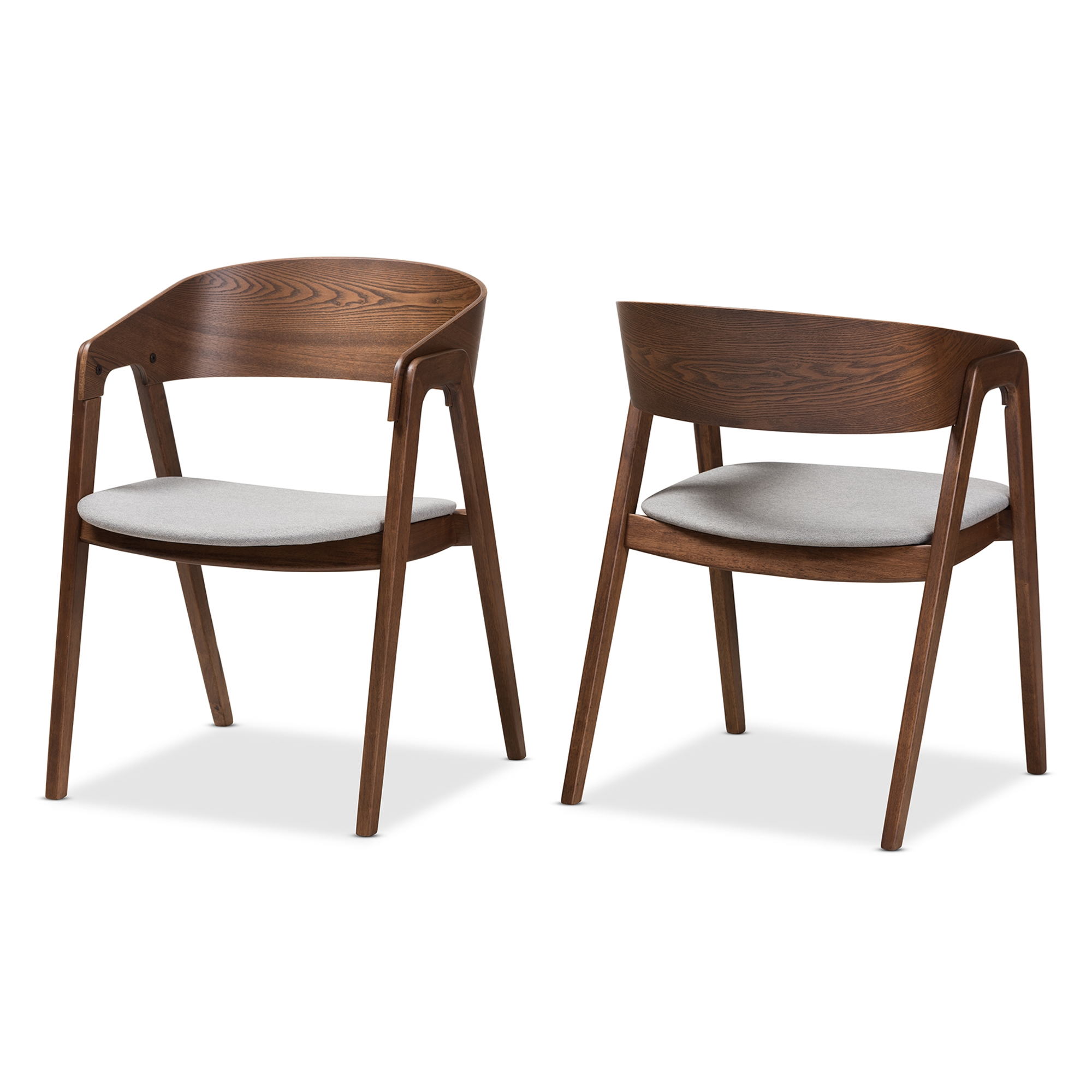 Baxton Studio Tatum Mid Century Modern Walnut Wood Light Grey Fabric Dining  Chair Set Of