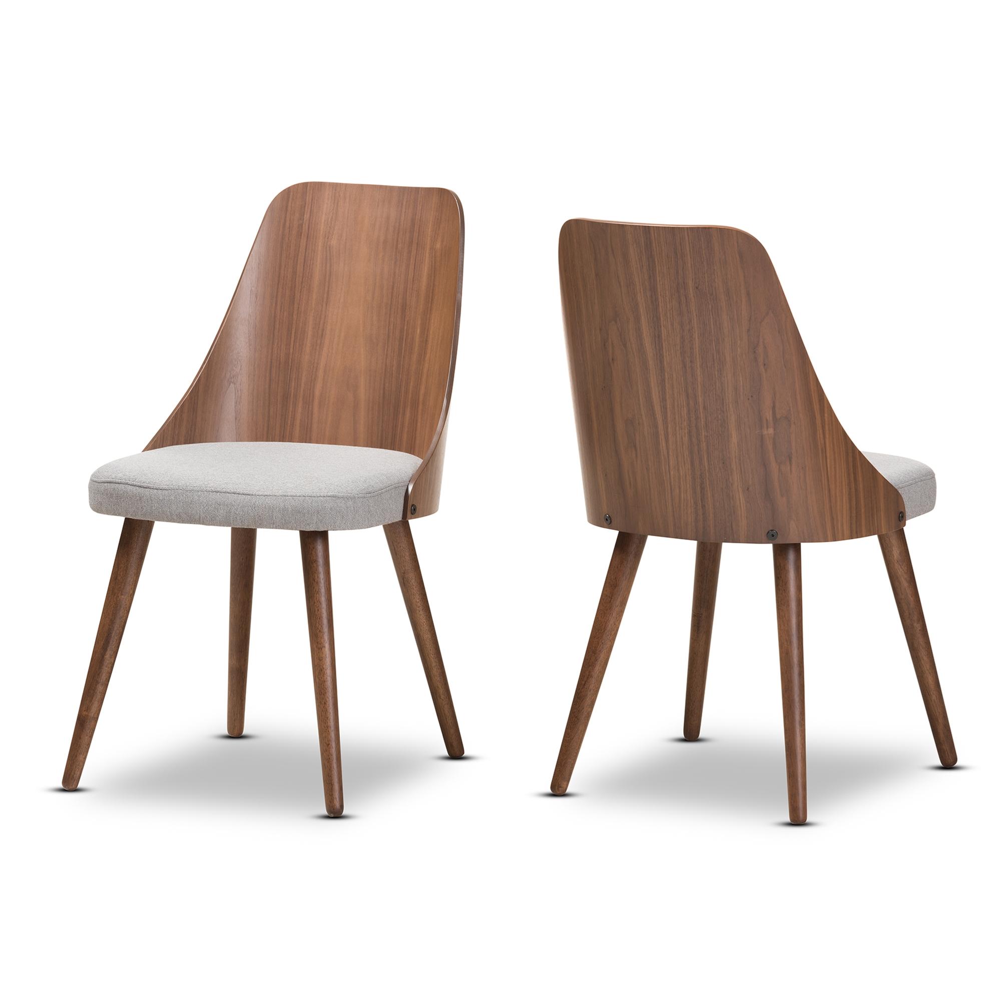 Baxton Studio Romily Mid Century Modern Walnut Wood Light Grey Fabric Dining  Chair Set Of