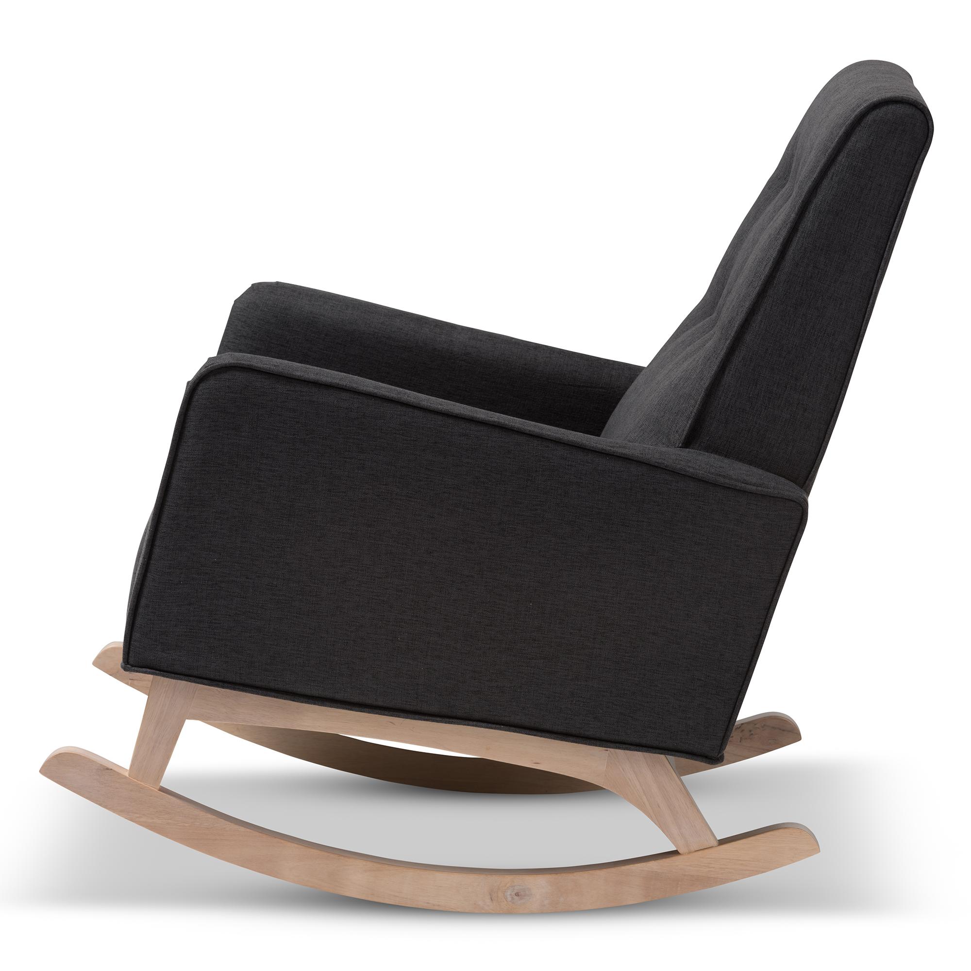 ... Baxton Studio Marlena Mid Century Modern Dark Grey Fabric Upholstered  Whitewash Wood Rocking Chair ...