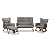 Baxton Studio Waldmann Mid-Century Modern Grey Fabric Upholstered 4-Piece Livingroom Set Baxton Studio restaurant furniture, hotel furniture, commercial furniture, wholesale living room furniture, wholesale sofas and loveseats, classic sofa and loveseats