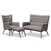 Baxton Studio Waldmann Mid-Century Modern Grey Fabric Upholstered 3-Piece Livingroom Set Baxton Studio restaurant furniture, hotel furniture, commercial furniture, wholesale living room furniture, wholesale sofas and loveseats, classic sofa and loveseats