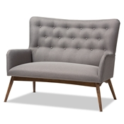 Baxton Studio Waldmann Mid-Century Modern Grey Fabric Upholstered Loveseat Baxton Studio restaurant furniture, hotel furniture, commercial furniture, wholesale living room furniture, wholesale sofas and loveseats, classic loveseats
