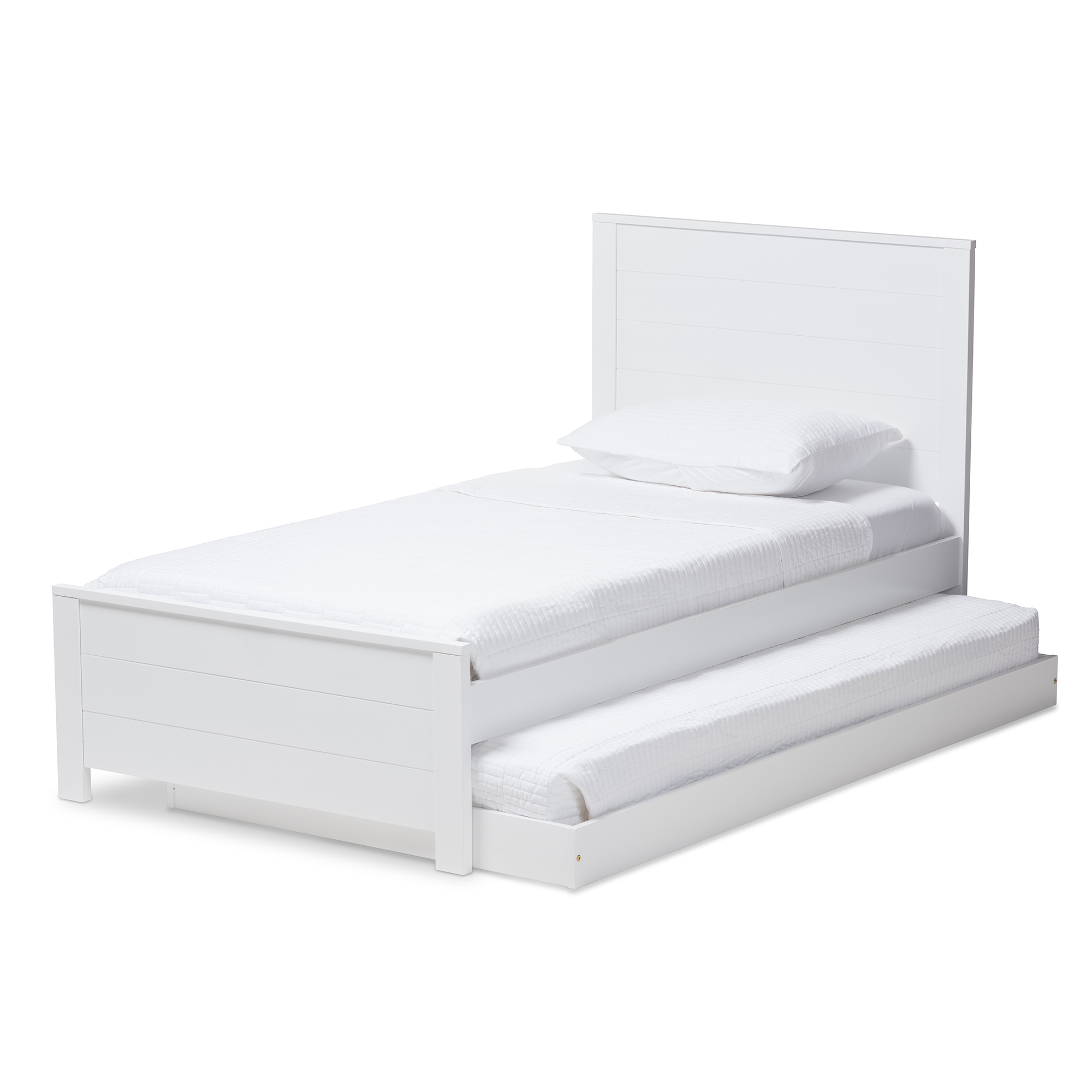 ... Baxton Studio Catalina Modern Classic Mission Style White Finished Wood  Twin Platform Bed With Trundle ...