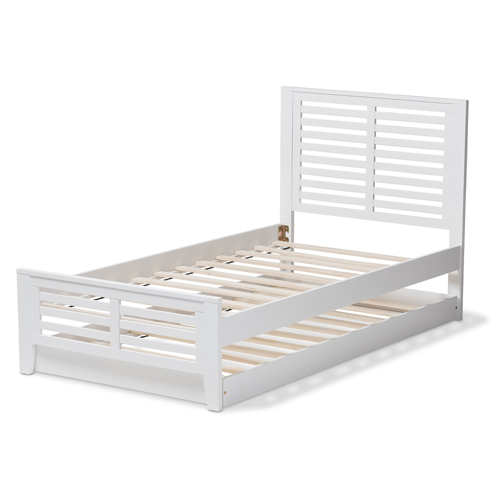 1906896d1c ... Baxton Studio Sedona Modern Classic Mission Style White-Finished Wood  Twin Platform Bed with Trundle ...