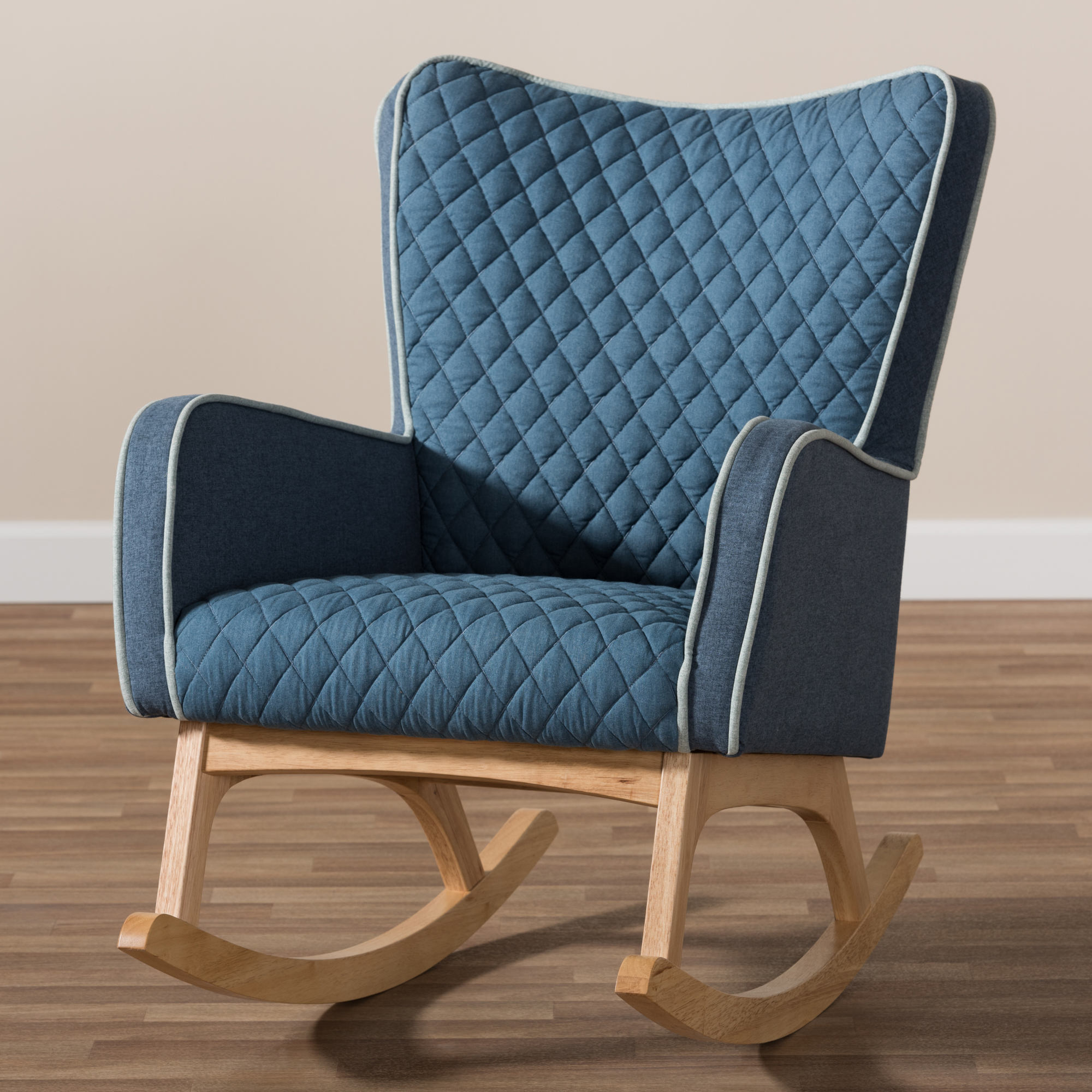 blue rocking chair. Baxton Studio Zoelle Mid-Century Modern Blue Fabric Upholstered Natural Finished Rocking Chair - BBT5305