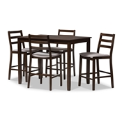 Baxton Studio Nadine Modern and Contemporary Walnut-Finished Light Grey Fabric Upholstered 5-Piece Pub Set Baxton Studio restaurant furniture, hotel furniture, commercial furniture, wholesale bar furniture, wholesale bar table sets, classic bar table sets