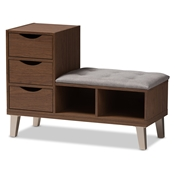 Baxton Studio Arielle Modern and Contemporary Walnut Wood 3-Drawer Shoe Storage Grey Fabric Upholstered Seating Bench with Two Open Shelves Baxton Studio restaurant furniture, hotel furniture, commercial furniture, wholesale foyer furniture, classic foyer furniture