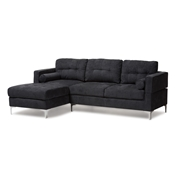 Baxton Studio Mireille Modern and Contemporary Dark Grey Fabric Upholstered Sectional Sofa Baxton Studio restaurant furniture, hotel furniture, commercial furniture, wholesale living room furniture, wholesale sofas and loveseats, classic sectional sofas