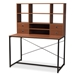 Baxton Studio Edwin Rustic Industrial Style Brown Wood and Metal 2-in-1 Bookcase Writing Desk - WS12202-Coffee/Black