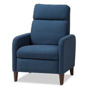 Baxton Studio Casanova Mid-century Modern Blue Fabric Upholstered Lounge Chair Baxton Studio restaurant furniture, hotel furniture, commercial furniture, wholesale dining room furniture, wholesale chair, classic fabric chairs