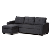 Baxton Studio Lianna Modern and Contemporary Dark Grey Fabric Upholstered Sectional Sofa Baxton Studio restaurant furniture, hotel furniture, commercial furniture, wholesale living room furniture, wholesale sofas and loveseats, classic sectional sofas