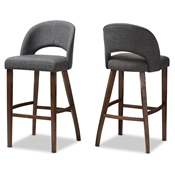 Baxton Studio Melrose Mid-Century Modern Dark Grey Fabric Upholstered Walnut Finished Wood Bar Stool (Set of 2) Baxton Studio restaurant furniture, hotel furniture, commercial furniture, wholesale bar furniture, wholesale bar stool, classic bar stools