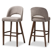 Baxton Studio Melrose Mid-Century Modern Light Grey Fabric Upholstered Walnut Finished Wood Bar Stool (Set of 2) Baxton Studio restaurant furniture, hotel furniture, commercial furniture, wholesale bar furniture, wholesale bar stool, classic bar stools