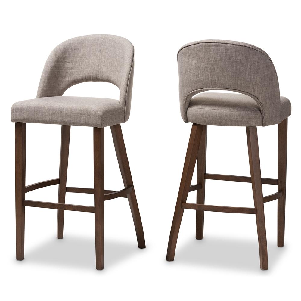 Baxton studio melrose mid century modern light grey fabric upholstered walnut finished wood bar stool