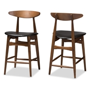Baxton Studio Flora Mid-Century Modern Black Faux Leather Upholstered Walnut Finished Counter Stool (Set of 2) Baxton Studio restaurant furniture, hotel furniture, commercial furniture, wholesale bar furniture, wholesale bar stool, classic bar stools