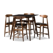 Baxton Studio Flora Mid-Century Modern Black Faux-Leather Upholstered Walnut Finished 5-Piece Pub Set Baxton Studio restaurant furniture, hotel furniture, commercial furniture, wholesale bar furniture, wholesale pub set, classic pub sets