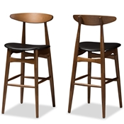 Baxton Studio Flora Mid-Century Modern Black Faux Leather Upholstered Walnut Finished Bar Stool (Set of 2) Baxton Studio restaurant furniture, hotel furniture, commercial furniture, wholesale bar furniture, wholesale bar stool, classic bar stools