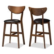 Baxton Studio Eline Mid-Century Modern Black Faux Leather Upholstered Walnut Finished Counter Stool (Set of 2) Baxton Studio restaurant furniture, hotel furniture, commercial furniture, wholesale bar furniture, wholesale bar stool, classic bar stools