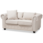 Baxton Studio Alaise Modern Classic Beige Linen Tufted Scroll Arm Chesterfield Loveseat Baxton Studio restaurant furniture, hotel furniture, commercial furniture, wholesale living room furniture, wholesale living room set, classic living room sets