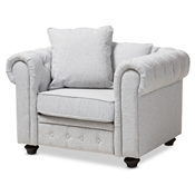 Baxton Studio Alaise Modern Classic Grey Linen Tufted Scroll Arm Chesterfield Chair Baxton Studio restaurant furniture, hotel furniture, commercial furniture, wholesale living room furniture, wholesale chair, classic accent chairs