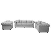 Baxton Studio Alaise Modern Classic Grey Linen Tufted Scroll Arm Chesterfield 3-Piece Living Room Set Baxton Studio restaurant furniture, hotel furniture, commercial furniture, wholesale living room furniture, wholesale living room set, classic living room sets