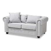 Baxton Studio Alaise Modern Classic Grey Linen Tufted Scroll Arm Chesterfield Loveseat Baxton Studio restaurant furniture, hotel furniture, commercial furniture, wholesale living room furniture, wholesale living room set, classic living room sets