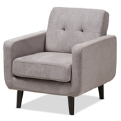 Baxton Studio Carina Mid-Century Modern Light Grey Fabric Upholstered Lounge Chair Baxton Studio restaurant furniture, hotel furniture, commercial furniture, wholesale living room furniture, wholesale chair, classic accent chairs
