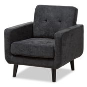 Baxton Studio Carina Mid-Century Modern Dark Grey Fabric Upholstered Lounge Chair Baxton Studio restaurant furniture, hotel furniture, commercial furniture, wholesale living room furniture, wholesale chair, classic accent chairs