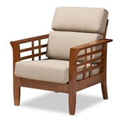 Baxton Studio Larissa Modern Classic Mission Style Cherry Finished Brown Wood and Dark Beige Fabric High Back Cushioned Living Room 1-Seater Lounge Chair Baxton Studio restaurant furniture, hotel furniture, commercial furniture, wholesale living room furniture, wholesale chair, classic accent chairs