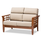 Baxton Studio Larissa Modern Classic Mission Style Cherry Finished Brown Wood and Dark Beige Fabric High Back Cushioned Living Room 2-Seater Loveseat Baxton Studio restaurant furniture, hotel furniture, commercial furniture, wholesale living room furniture, wholesale living room set, classic living room sets