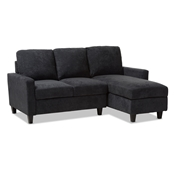 Baxton Studio Greyson Modern And Contemporary Dark Grey Fabric Upholstered Reversible Sectional Sofa Baxton Studio restaurant furniture, hotel furniture, commercial furniture, wholesale living room furniture, wholesale sofas and loveseats, classic sectional sofas