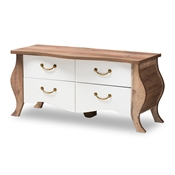 Baxton Studio Raynell Country Cottage Farmhouse Antique White and Oak-Finished Wood 4-Drawer Cabinet Baxton Studio restaurant furniture, hotel furniture, commercial furniture, wholesale living room furniture, wholesale storage, classic storage cabinet