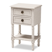 Baxton Studio Lenore Country Cottage Farmhouse Whitewashed 2-Drawer Nightstand Baxton Studio restaurant furniture, hotel furniture, commercial furniture, wholesale bedroom furniture, wholesale nightstand, classic nightstands