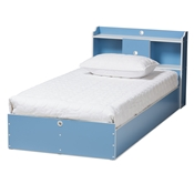 Baxton Studio Aeluin Contemporary Childrens Blue and White Finished 2-Piece Bedroom Set Baxton Studio restaurant furniture, hotel furniture, commercial furniture, wholesale bedroom furniture, wholesale bed, classic twin bed