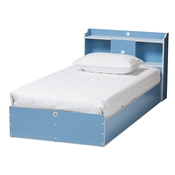 Baxton Studio Aeluin Contemporary Children's Blue and White Finished Platform Bed Baxton Studio restaurant furniture, hotel furniture, commercial furniture, wholesale bedroom furniture, wholesale bed, classic twin bed