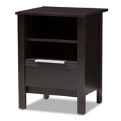 Baxton Studio Hamish Modern and Contemporary Wenge Brown Finished 1-Drawer Nightstand Baxton Studio restaurant furniture, hotel furniture, commercial furniture, wholesale bedroom furniture, wholesale nightstand, classic nightstands
