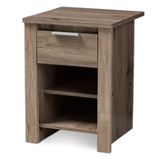 Baxton Studio Laverne Modern and Contemporary Oak Brown Finished 1-Drawer Nightstand Baxton Studio restaurant furniture, hotel furniture, commercial furniture, wholesale bedroom furniture, wholesale nightstand, classic nightstands