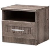 Baxton Studio Gallia Modern and Contemporary Oak Brown Finished 1-Drawer Nightstand Baxton Studio restaurant furniture, hotel furniture, commercial furniture, wholesale bedroom furniture, wholesale nightstand, classic nightstands