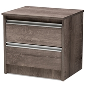 Baxton Studio Gallia Modern and Contemporary Oak Brown Finished 2-Drawer Nightstand Baxton Studio restaurant furniture, hotel furniture, commercial furniture, wholesale bedroom furniture, wholesale nightstand, classic nightstands